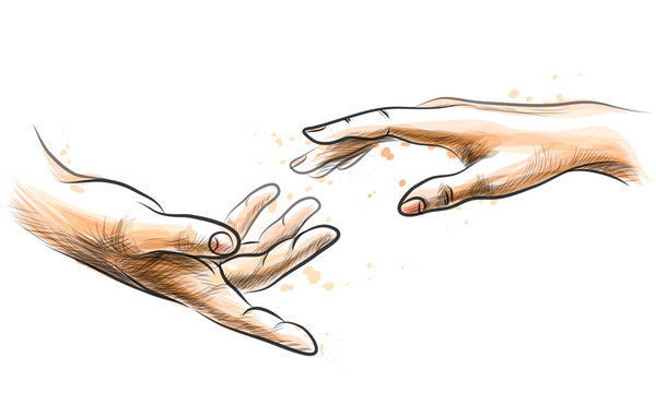 Male and female hand outstretched to touch. Sketchy vector illustration on white background with splashes of watercolor.