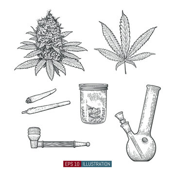 Hand drawn marijuana set. Leaves and buds. Jar, bong, pipe and cigarettes isolated. Template for your design works. Engraved style vector illustration.
