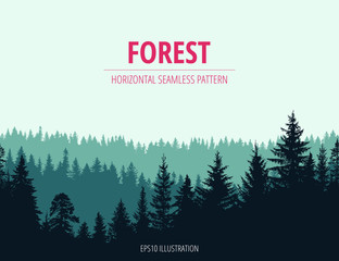 Fototapeta Abstract background. Forest wilderness landscape. Horizontal seamless pattern.  Template for your design works. Hand drawn vector illustration.