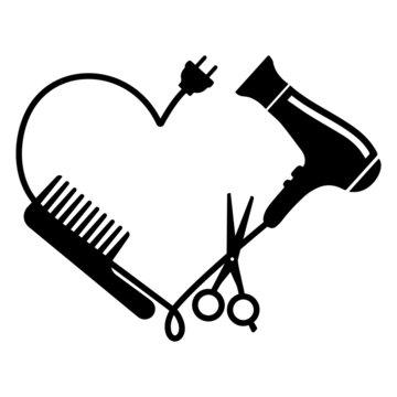 Hairdresser logo vector: comb, hair dryer and scissors