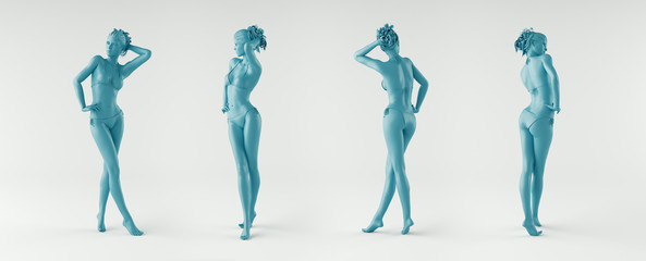 Silhouette woman, body, naked, 3d rendering