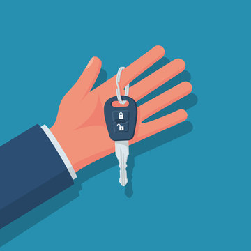 Car key hold in hand vecto