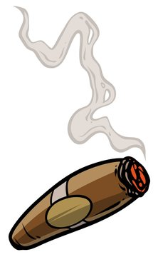 Cartoon lit cigar with smoke. Isolated on white background. Vector icon.