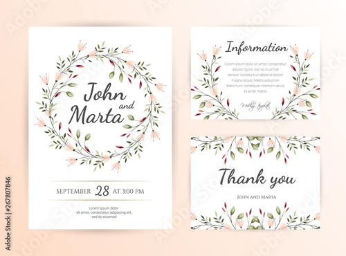 Floral Wedding Invitation Template Botanical
