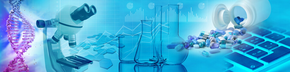 drugs, chemical glasses, microscope and DNA in blue background, 3d illustration