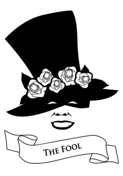 Tarot Card Concept. The Fool. Joker. Hat with flower and banner text. Isolated on white background