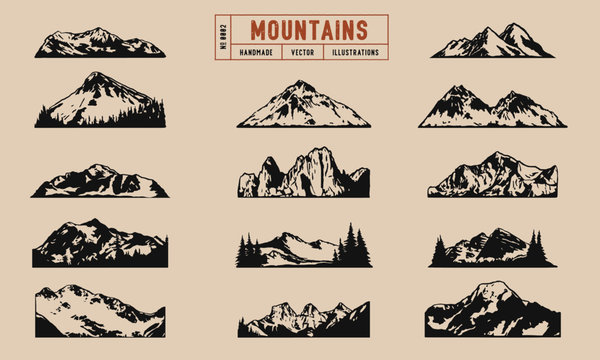 Mountain peaks and ridges vector illustrations hand drawn, isolated on a cream background.