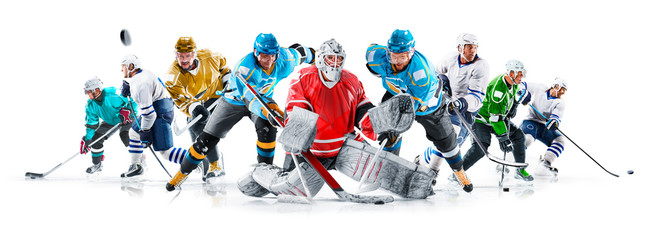 Grand ice hockey collage with professional players on the white background
