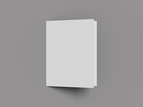 White vertical booklet mockap brochure magazine A4 divided into two parts isolated. 3D rendering.