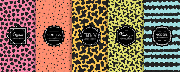 Vector geometric seamless pattern collection. Set of bright colorful backgrounds