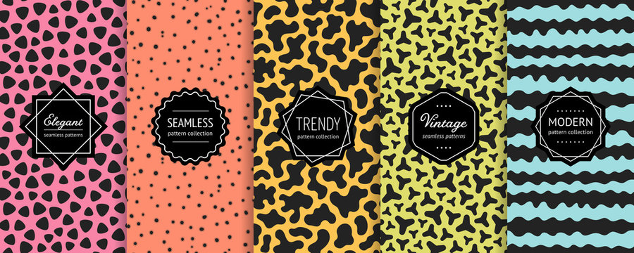 Vector geometric seamless pattern collection. Set of bright colorful background swatches with elegant modern minimalist labels. Cute abstract repeat textures, chaotic organic shapes. Trendy design