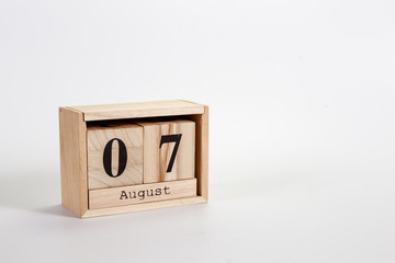 Wooden calendar August 07 on a white background