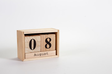 Wooden calendar August 08 on a white background