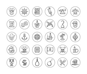 Pirate icon set - line drawn different objects, items, signs and symbols. Vector illustration.