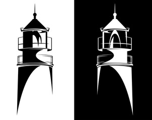 lighthouse tower from Baltiysk (Kaliningrad region) black and white vector silhouette design