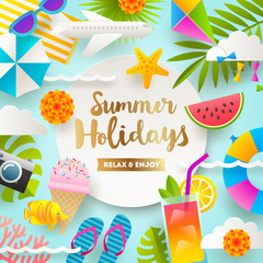 Summer holidays and beach vacation things and items. Flat design vector illustration.