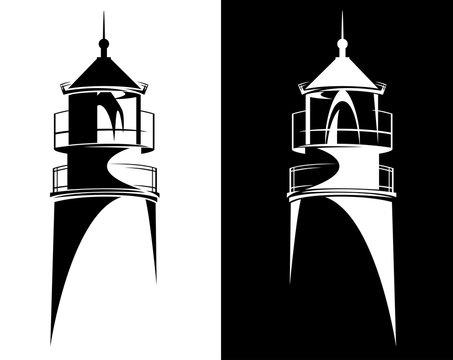 lighthouse tower from Baltiysk (Kaliningrad region) black and white vector silhouette design