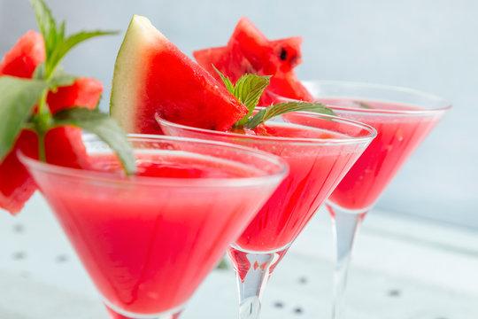 Cold watermelon cocktails
