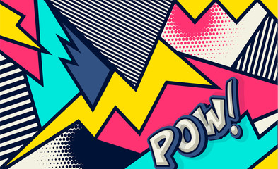 Comic. Pow! Pop art funny comic speech word. Fashionable poster and banner. Social Media Connecting Blog Communication Content. Trendy and fashion color retro vintage illustration background.  Wall mural