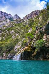 The azure waterfall on canyon Verdon