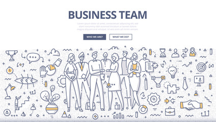 Business team concept. Group of businesspeople in casual wear standing in office environment. Successful teamwork