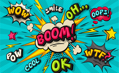 Boom pop art cloud bubble. Smile, wow, pow, cool, ok, oops, wtf funny speech bubble. Trendy Colorful retro vintage background in pop art retro comic style. Illustration easy editable for Your design. Wall mural