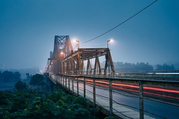 Bridge in mysterious fog