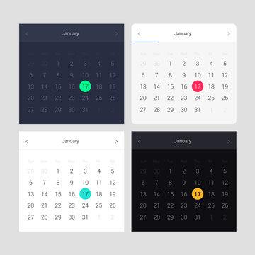 App and web design set of calendar. Daily ui. Web interface template