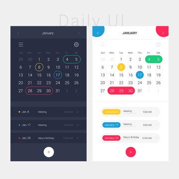 Modern app design calendar and planner. Daily ui. Web interface template