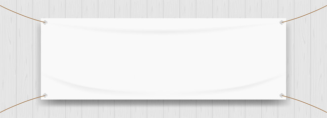 vinyl banner blank white isolated on wood frame background, white mock up textile fabric empty for banner advertising stand hanging, indoor outdoor fabric mesh vinyl backdrop for presentation poster