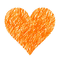 Abstract bright orange heart on white