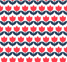 Seamless pattern with flowers. Minimalistic vector background