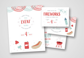 Fourth of July Poster and Postcard Set with Illustrations