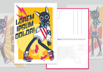 Postcard Set with America-Themed Illustrations