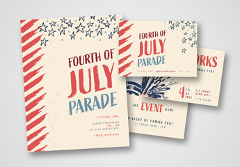 Fourth of July Poster and Postcard Set with Abstract Illustrations