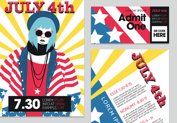 Event Promotion Set with America-Themed Illustrations