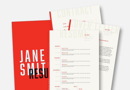 Resume and Business Stationery Set with Red Accents