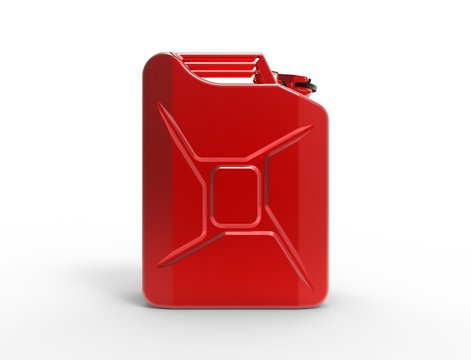 3D rendering of a red jerry can isolated in studio white background