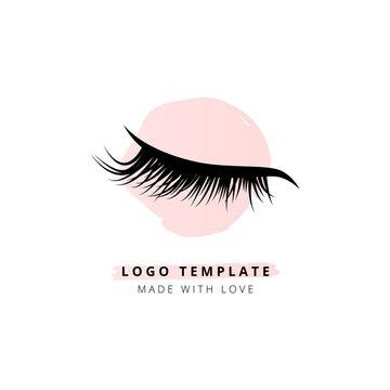 Eyelashes vector logo for beauty studio