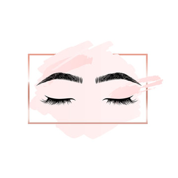 Eyelashes and eyebrows logo on pink background with rectangle geometric frame