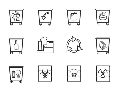 Waste, flat icons, unicolor, slim silhouette, vector. Garbage collection, different types of waste. Gray, flat icons on white background. Outline drawing.