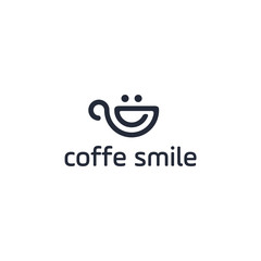 Vector coffee smile or cup of tea drawn by single continuous line.  One global color