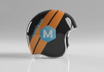 Isolated Motorcycle Helmet on Grey Mockup