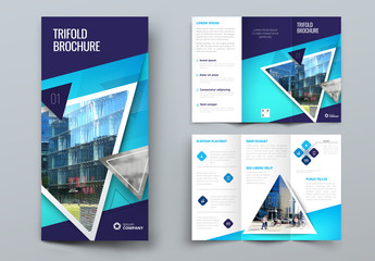 Dark Blue Trifold Brochure Layout with Triangles