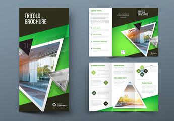 Green Trifold Brochure Layout with Triangles