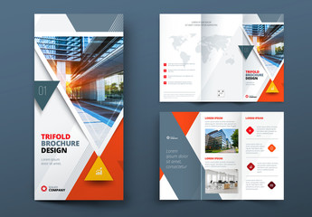 Orange Trifold Brochure Layout with Triangles