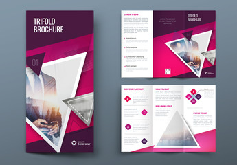 Pink Trifold Brochure Layout with Triangles