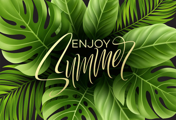 Summer poster with tropical palm leaf and handwriting lettering. Vector illustration