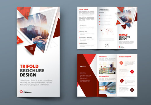 Red Trifold Brochure Layout with Triangles