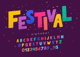 Vector font and alphabet. Abc, english letters and numbers. Festival